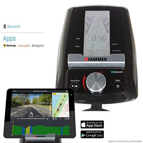 HAMMER Speed Racer S, Speedbike, Indoor Cycle, 22 kg Schwungmasse, LCD-Screen + APP-Steuerung für Smartphone, Bluetooth Anbindung, kompatibel mit: iConsole+, Kinomap und BitGym - 2