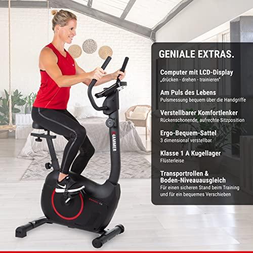 HAMMER Heimtrainer Cardio T3, geringer Einstiegs-Widerstand, besonders leises Fitnessfahrrad, Comfort-Sattel, geeignet als Heimtrainer für Senioren, Tablethalterung, 90 x 46 x 137 cm - 2