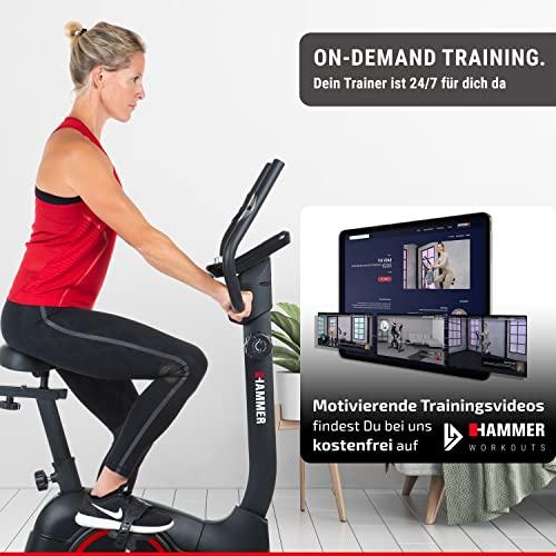 HAMMER Heimtrainer Cardio T3, geringer Einstiegs-Widerstand, besonders leises Fitnessfahrrad, Comfort-Sattel, geeignet als Heimtrainer für Senioren, Tablethalterung, 90 x 46 x 137 cm - 4