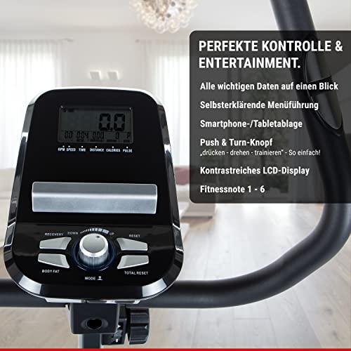 HAMMER Heimtrainer Cardio T3, geringer Einstiegs-Widerstand, besonders leises Fitnessfahrrad, Comfort-Sattel, geeignet als Heimtrainer für Senioren, Tablethalterung, 90 x 46 x 137 cm - 5
