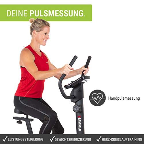 HAMMER Heimtrainer Cardio T3, geringer Einstiegs-Widerstand, besonders leises Fitnessfahrrad, Comfort-Sattel, geeignet als Heimtrainer für Senioren, Tablethalterung, 90 x 46 x 137 cm - 6