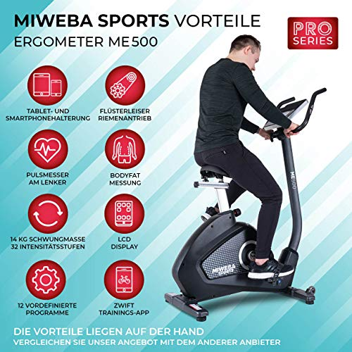 Miweba Sports Ergometer ME500 Trimmrad Cardio Heimtrainer - Streaming App - 14 Kg Schwungmasse - Magnetbremse - Pulsmesser (ME500) - 2