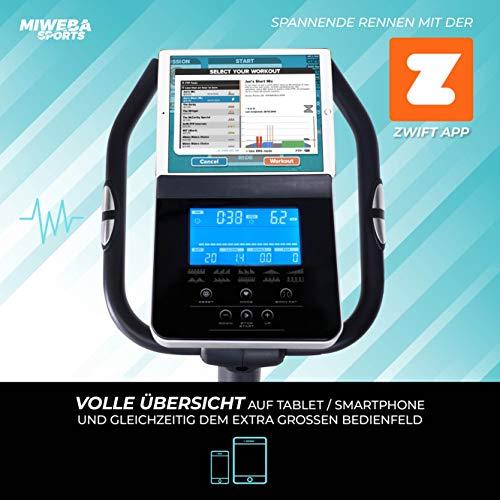 Miweba Sports Ergometer ME500 Trimmrad Cardio Heimtrainer - Streaming App - 14 Kg Schwungmasse - Magnetbremse - Pulsmesser (ME500) - 3