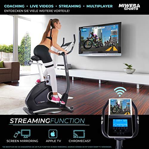 Miweba Sports Ergometer ME500 Trimmrad Cardio Heimtrainer - Streaming App - 14 Kg Schwungmasse - Magnetbremse - Pulsmesser (ME500) - 5