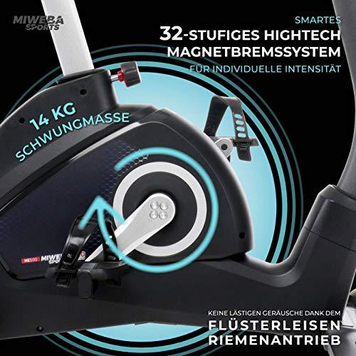 Miweba Sports Ergometer ME500 Trimmrad Cardio Heimtrainer - Streaming App - 14 Kg Schwungmasse - Magnetbremse - Pulsmesser (ME500) - 6