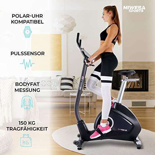 Miweba Sports Ergometer ME500 Trimmrad Cardio Heimtrainer - Streaming App - 14 Kg Schwungmasse - Magnetbremse - Pulsmesser (ME500) - 7