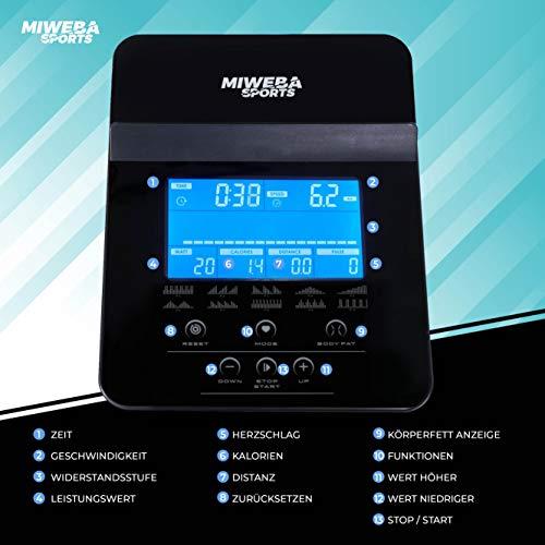 Miweba Sports Ergometer ME500 Trimmrad Cardio Heimtrainer - Streaming App - 14 Kg Schwungmasse - Magnetbremse - Pulsmesser (ME500) - 8