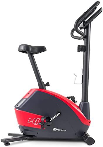 Hop-Sport Heimtrainer Fahrrad HS-035H Leaf - Fitnessbike für Zuhause mit Pulssensoren und Computer, Magnetbremse, Schwungmasse 8 kg - Ergometer für EIN max. Nutzergewicht von 135kg Rot - 4