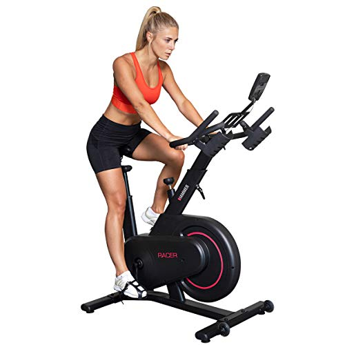 HAMMER Speedbike Racer, Indoor Cycle, 20 kg Schwungmasse, LCD-Screen + Tablet- und Smartphone-Halterung, kompatibel mit Kinomap und BitGym, 115 x 50 x 134 cm - 2