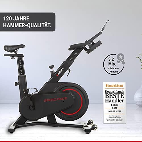HAMMER Speedbike Racer, Indoor Cycle, 20 kg Schwungmasse, LCD-Screen + Tablet- und Smartphone-Halterung, kompatibel mit Kinomap und BitGym, 115 x 50 x 134 cm - 5