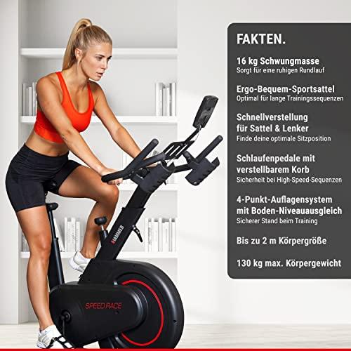 HAMMER Speedbike Racer, Indoor Cycle, 20 kg Schwungmasse, LCD-Screen + Tablet- und Smartphone-Halterung, kompatibel mit Kinomap und BitGym, 115 x 50 x 134 cm - 6