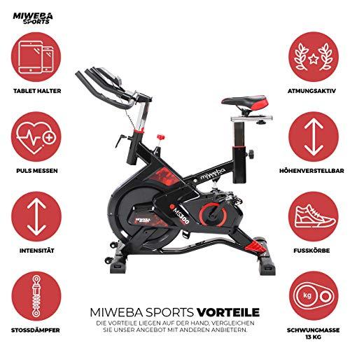 Miweba Sports Indoor Cycling MS300 Fitnessbike - 13 Kg Schwungmasse - Stufenfreie Widerstandsverstellung - Stoßdämpfer - Tablethalter (Schwarz) - 2