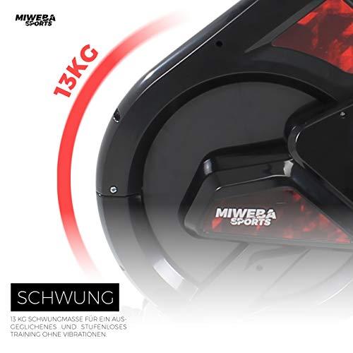 Miweba Sports Indoor Cycling MS300 Fitnessbike - 13 Kg Schwungmasse - Stufenfreie Widerstandsverstellung - Stoßdämpfer - Tablethalter (Schwarz) - 3