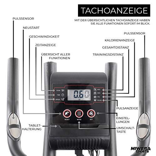 Miweba Sports Indoor Cycling MS300 Fitnessbike - 13 Kg Schwungmasse - Stufenfreie Widerstandsverstellung - Stoßdämpfer - Tablethalter (Schwarz) - 4