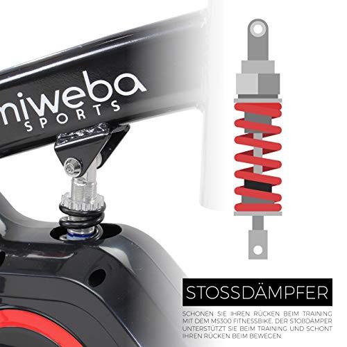 Miweba Sports Indoor Cycling MS300 Fitnessbike - 13 Kg Schwungmasse - Stufenfreie Widerstandsverstellung - Stoßdämpfer - Tablethalter (Schwarz) - 5