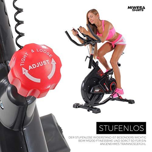 Miweba Sports Indoor Cycling MS300 Fitnessbike - 13 Kg Schwungmasse - Stufenfreie Widerstandsverstellung - Stoßdämpfer - Tablethalter (Schwarz) - 7