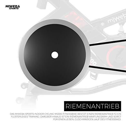 Miweba Sports Indoor Cycling MS300 Fitnessbike - 13 Kg Schwungmasse - Stufenfreie Widerstandsverstellung - Stoßdämpfer - Tablethalter (Schwarz) - 8