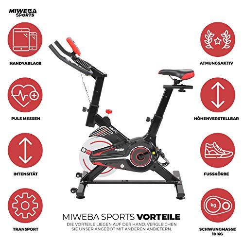 Miweba Sports Indoor Cycling MS100 Fitnessbike - 10 Kg Schwungmasse - Stufenfreie Widerstandsverstellung - Pulsmessung (Schwarz) - 2