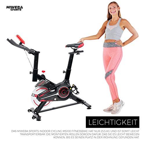 Miweba Sports Indoor Cycling MS100 Fitnessbike - 10 Kg Schwungmasse - Stufenfreie Widerstandsverstellung - Pulsmessung (Schwarz) - 8