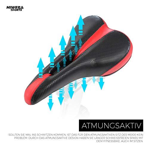 Miweba Sports Indoor Cycling MS100 Fitnessbike - 10 Kg Schwungmasse - Stufenfreie Widerstandsverstellung - Pulsmessung (Schwarz) - 9