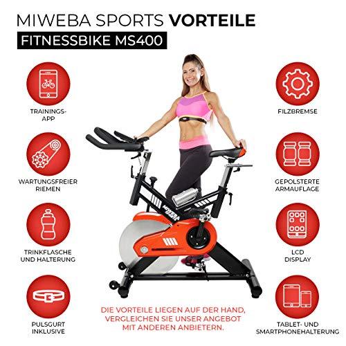 Miweba Sports Profi Indoor Cycling Bike MS400 Ergometer Heimtrainer - App-Steuerung - 22 Kg Schwungmasse - Pulsgurt - 2