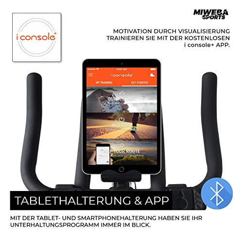 Miweba Sports Profi Indoor Cycling Bike MS400 Ergometer Heimtrainer - App-Steuerung - 22 Kg Schwungmasse - Pulsgurt - 4