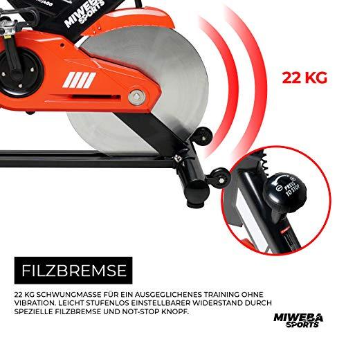 Miweba Sports Profi Indoor Cycling Bike MS400 Ergometer Heimtrainer - App-Steuerung - 22 Kg Schwungmasse - Pulsgurt - 5