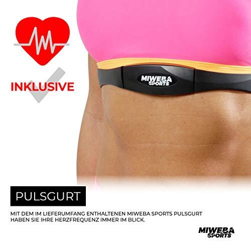 Miweba Sports Profi Indoor Cycling Bike MS400 Ergometer Heimtrainer - App-Steuerung - 22 Kg Schwungmasse - Pulsgurt - 6