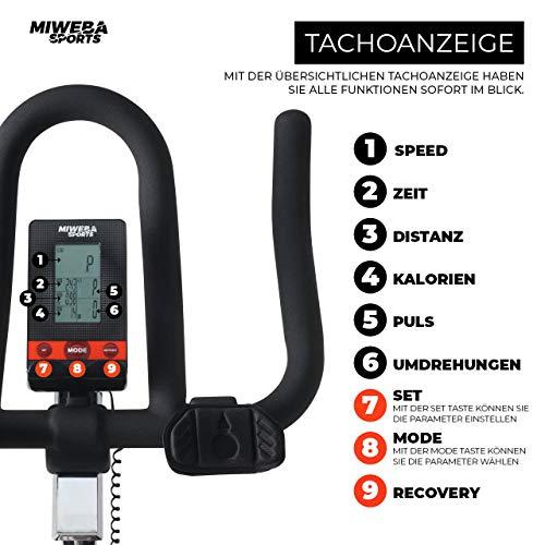 Miweba Sports Profi Indoor Cycling Bike MS400 Ergometer Heimtrainer - App-Steuerung - 22 Kg Schwungmasse - Pulsgurt - 7