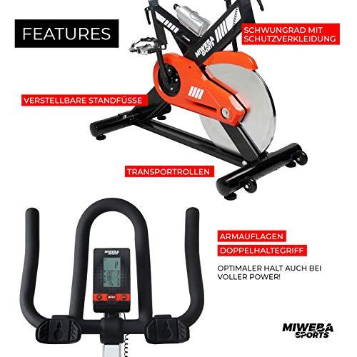 Miweba Sports Profi Indoor Cycling Bike MS400 Ergometer Heimtrainer - App-Steuerung - 22 Kg Schwungmasse - Pulsgurt - 9
