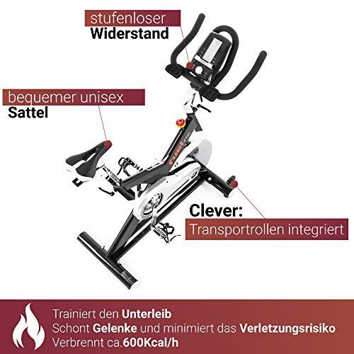 Fuel Fitness IF700 Indoor Cycle, Indoor Cycle für zuhause, 20kg Schwungrad, leiser Riemenantrieb, LCD-Radcomputer mit App-Anbindung, optimaler Rundlauf, Nutzergewicht bis 150kg - 5