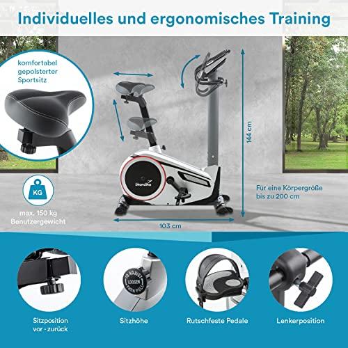 skandika Ergometer Morpheus, Fitnessbike, Heimtrainer mit Bluetooth, Pulsgurt, 32 einstellbare Widerstandseinstellung und Multifunktionscomputer mit Kalorienverbrauch, Puls - 6