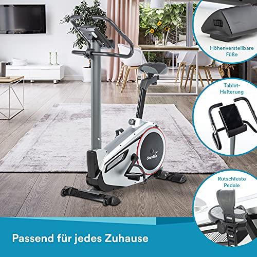 skandika Ergometer Morpheus, Fitnessbike, Heimtrainer mit Bluetooth, Pulsgurt, 32 einstellbare Widerstandseinstellung und Multifunktionscomputer mit Kalorienverbrauch, Puls - 8