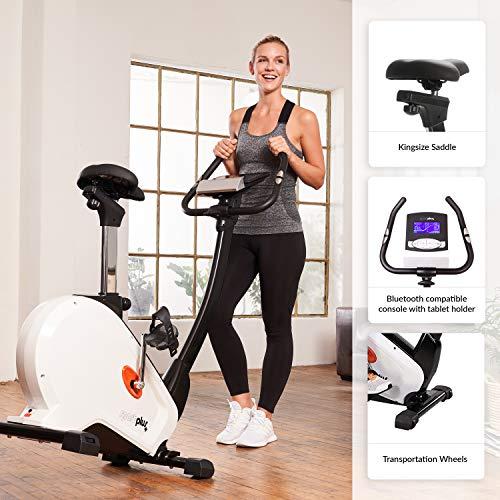 SportPlus Heimtrainer Ergometer mit APP Steuerung + Google Street View, Bluetooth Brustgurt kompatibel, 10 kg Schwungmasse, 5,5´´ Farbdiplay, inkl. Tablethalterung, Benutzergewicht bis 130 kg, SP-HT-9800-iE - 4