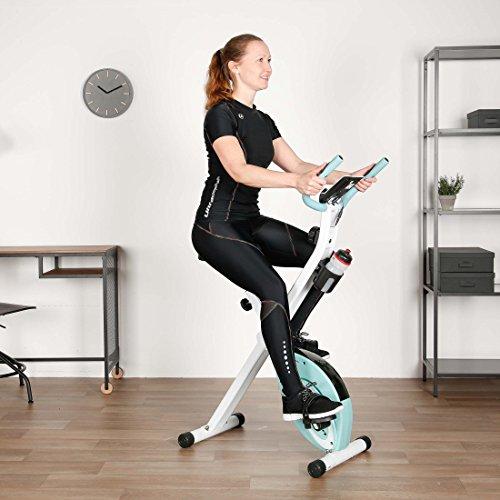 Ultrasport F-Bike Advanced Heimtrainer, Faltbares Fitnessbike mit Gelsattel, Flaschenhalter und Trinkflasche, Mint, OS - 7