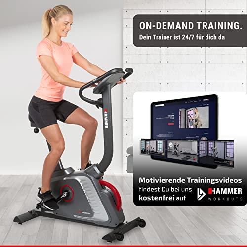 Premium HAMMER Ergometer Heimtrainer Ergo-Motion BT – APP Steuerung für Smartphone - Bluetooth Anbindung - 22 Trainingsprogramme - 12 Berg- und Talprofile - 4 Herzprogramme - LCD-Colour-Display - Push & Turn-Drehknopf - Fahrrad Trainer - Fitness-Bike - 3