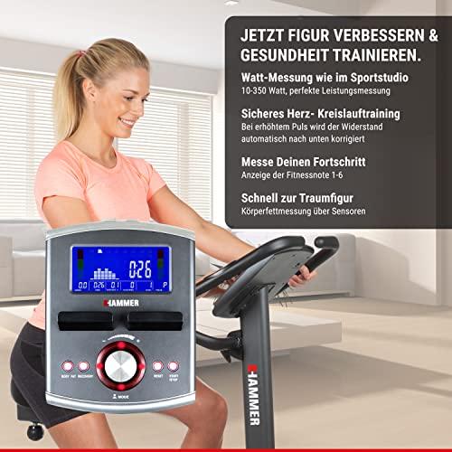 Premium HAMMER Ergometer Heimtrainer Ergo-Motion BT – APP Steuerung für Smartphone - Bluetooth Anbindung - 22 Trainingsprogramme - 12 Berg- und Talprofile - 4 Herzprogramme - LCD-Colour-Display - Push & Turn-Drehknopf - Fahrrad Trainer - Fitness-Bike - 4