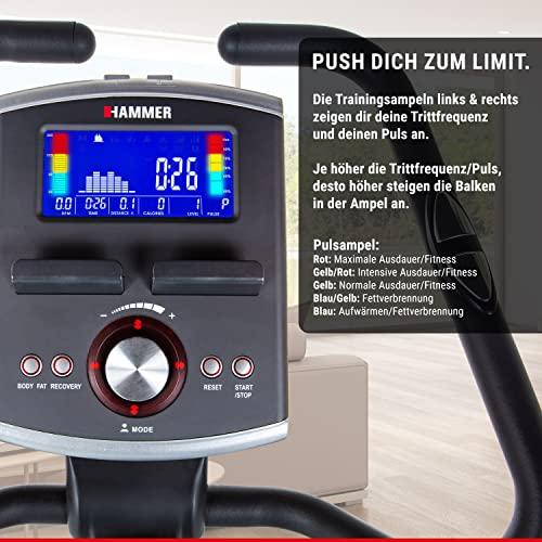 Premium HAMMER Ergometer Heimtrainer Ergo-Motion BT – APP Steuerung für Smartphone - Bluetooth Anbindung - 22 Trainingsprogramme - 12 Berg- und Talprofile - 4 Herzprogramme - LCD-Colour-Display - Push & Turn-Drehknopf - Fahrrad Trainer - Fitness-Bike - 5