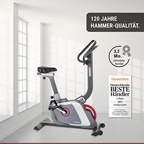 Premium HAMMER Ergometer Heimtrainer Ergo-Motion BT – APP Steuerung für Smartphone - Bluetooth Anbindung - 22 Trainingsprogramme - 12 Berg- und Talprofile - 4 Herzprogramme - LCD-Colour-Display - Push & Turn-Drehknopf - Fahrrad Trainer - Fitness-Bike - 7