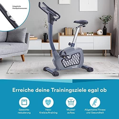 skandika Wiry Ergometer Heimtrainer 11kg Schwungmasse 24 Trainingsprogramme 32 Widerstandsstufen Magnetbremssystem iConsole Bluetooth App-Steuerung Transportrollen (grau) - 6