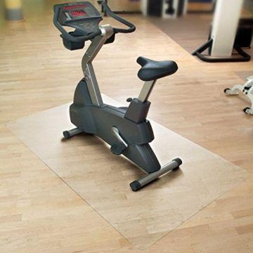 Floordirekt SPORT Bodenmatte / Unterlegmatte für Heimtrainer, Ergometer, Crosstrainer und andere Fitnessgeräte – transparent – 75x120cm -
