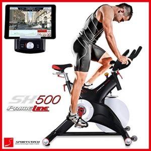 Sportstech Profi Indoor Cycle SX500 mit Smartphone App Steuerung + Google Street View, 25KG Schwungrad, Armauflage, Pulsgurt kompatibel - Speedbike in Studioqualität mit SPD Klicksystem - bis 150 KG -