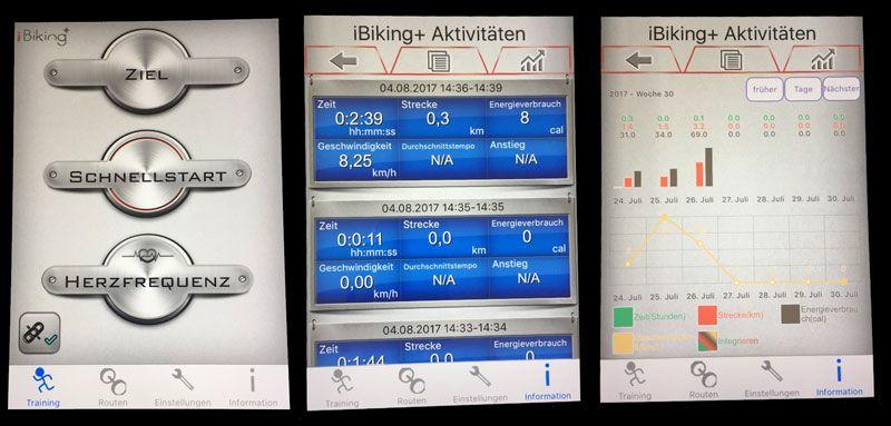 Ansicht iBiking App am Sportstech SX400