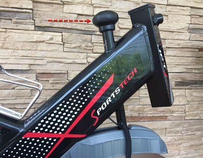 Widerstandsverstellung und Notstop am Sportstech SX 400