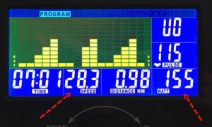 Doppelbelegung der Displayanzeigen beim Sportsech Ergomter ESX500