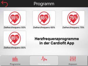 Herzfrequenzprogramme der Cardiofit App von Sportplus