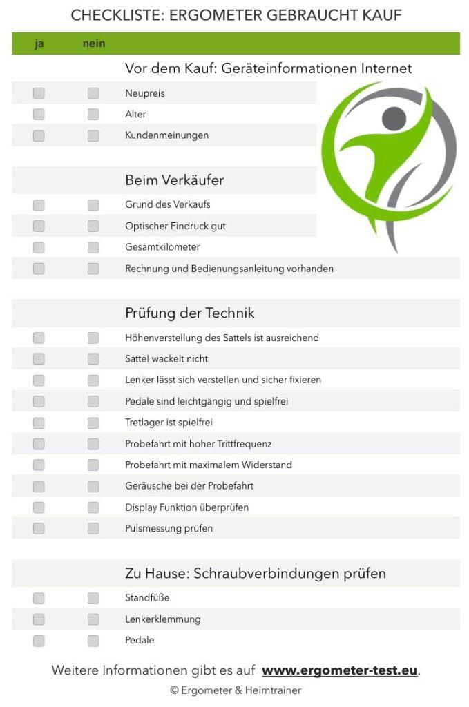 Ergometer gebraucht Kauf Checkliste
