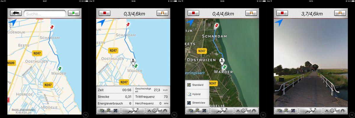 Verschiedene Kartenansichten mit Street View