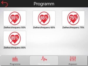 Vordefinierte Herzfrequenzprogramme am Ergometer