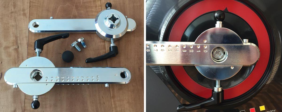 ERGO-FIT Pedalarme von 75 bis 175 Millimeter in 10 Stufen ohne Werkzeug verstellbar.